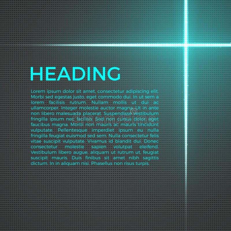 Abstrakt technobakgrund med ljusa linjer och partiklar glödande lampa för effekt Idérik affär, vetenskapsmall royaltyfri illustrationer