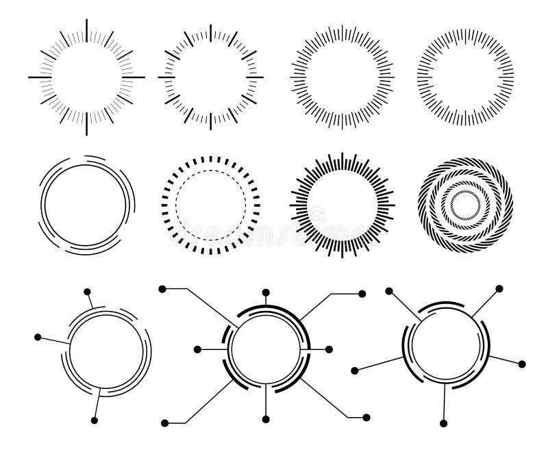 Abstrakt technocirkel fastställda symboler för vektor vektor illustrationer