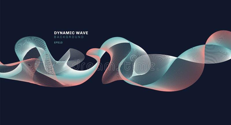 Abstrakt technolog med dynamiska våglinjer på mörkt - blå bakgrund stock illustrationer
