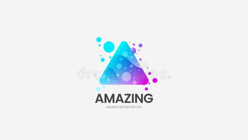 Abstrakt tecken för triangelvektorlogo Logotypemblemillustration Orientering för design för emblem för färgrik delta för mode org stock illustrationer