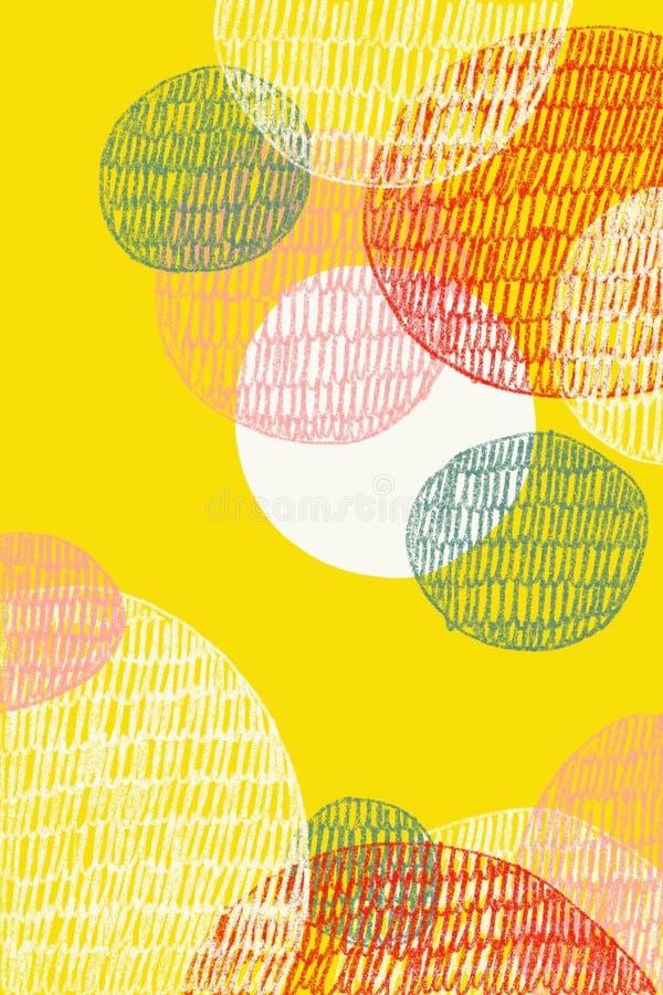 Abstrakt teckning av överdrade cirklar, på gul bakgrund stock illustrationer