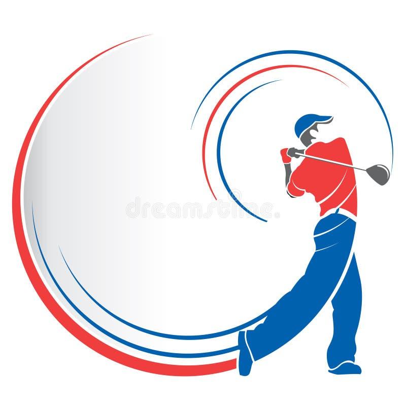 Abstrakt teckning av en röd och blå man som spelar golf med linjer som följer rörelsen av golfklubben på en vit bakgrund stock illustrationer