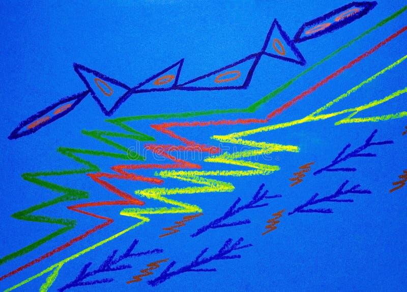 Abstrakt teckning på blå bakgrund royaltyfri fotografi