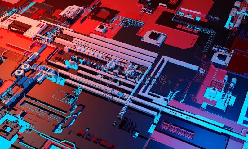 Abstrakt tekniskt avancerad elektronisk bakgrund för bräde för utskrivaven strömkrets för PCB i blå och röd färg illustration 3d royaltyfri bild