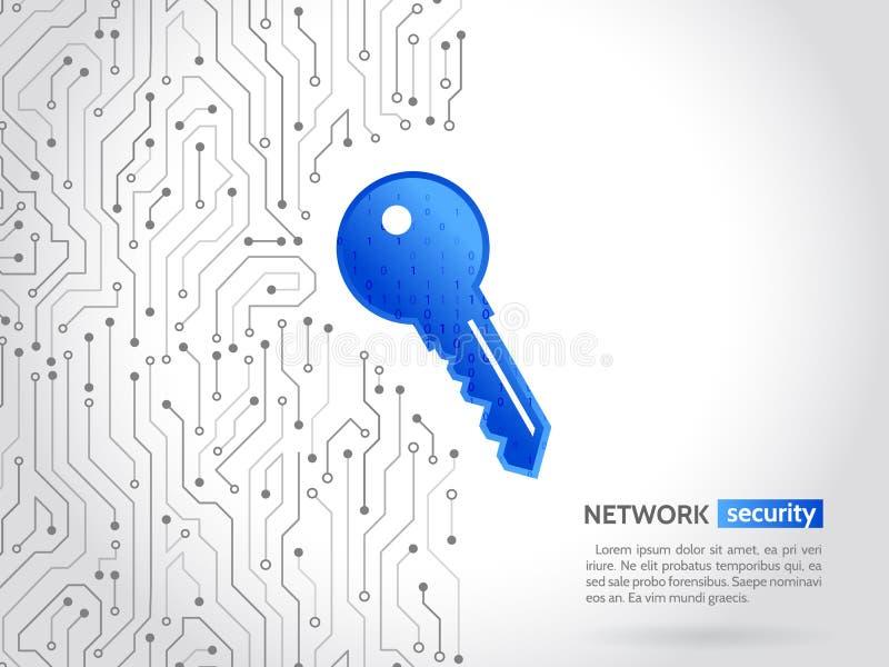 Abstrakt tekniskt avancerat strömkretsbräde med teknologitangent Säkerhetsbegreppsbakgrund Cyberdatasäkerhet, informationsavskild royaltyfri illustrationer