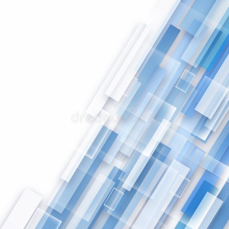 Abstrakt teknologi överlappade diagonalt geometriska fyrkanter formar blå färg på vit bakgrund stock illustrationer