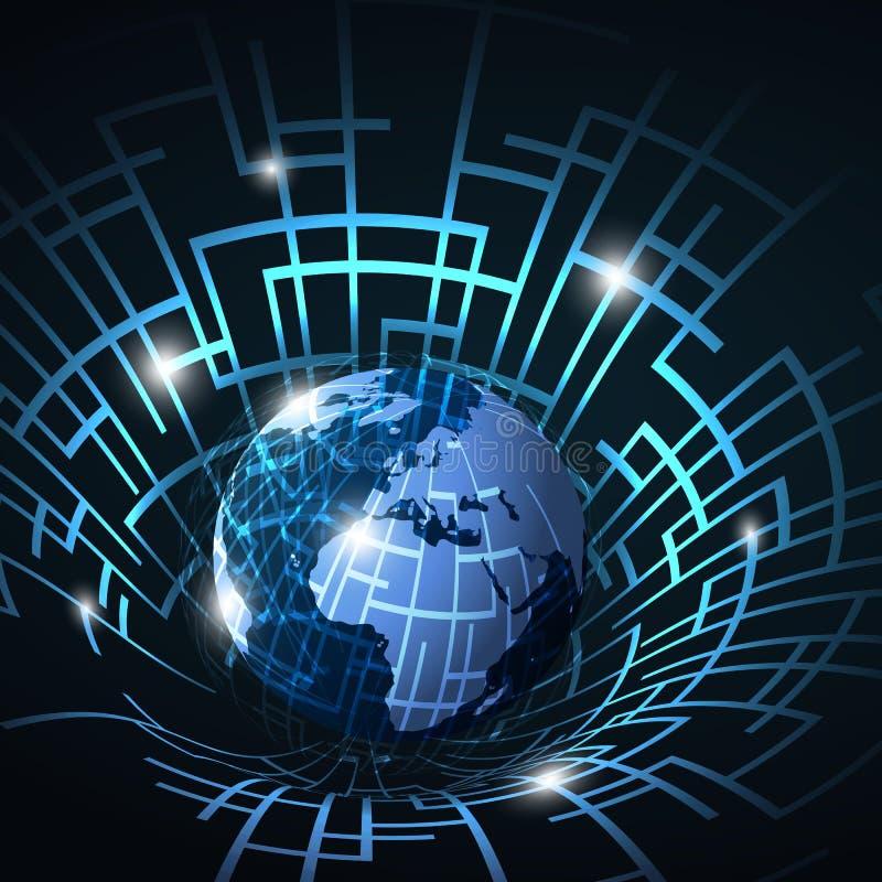 Abstrakt teknologi 3D, internet eller nätverk Conce