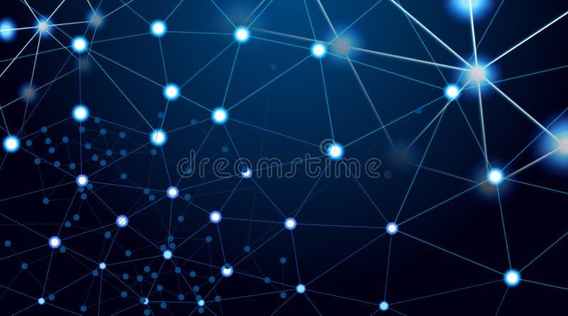 Abstrakt teknologi med polygonformer på mörkt - blå bakgrund, begrepp för Digital teknologi, illustrationvektor stock illustrationer