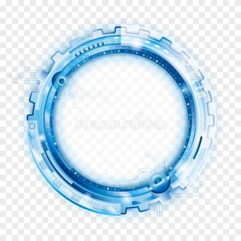 Abstrakt teknologibakgrund för cirkulär stock illustrationer