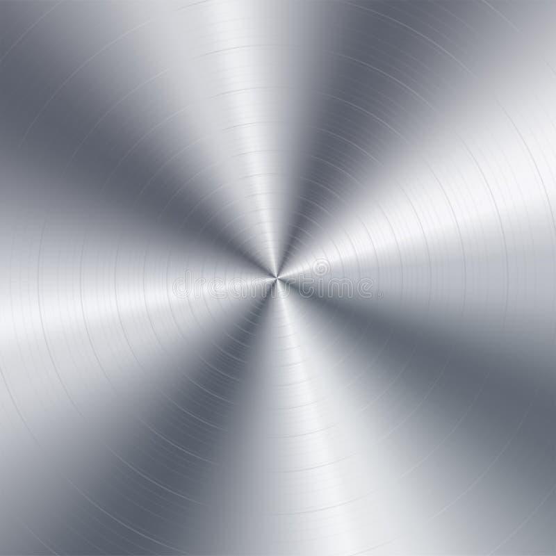 Abstrakt teknologibakgrund för metall Aluminium med med den realistiskt cirkulär borstade texturetexturen, krom, silver, stål royaltyfri illustrationer