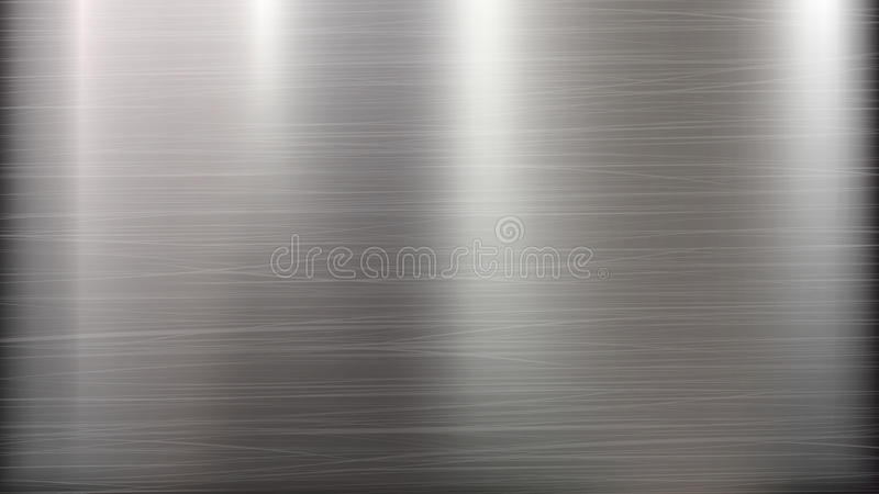 Abstrakt teknologibakgrund för metall Polerad borstad textur Chrome silver, stål, aluminium också vektor för coreldrawillustratio arkivfoto
