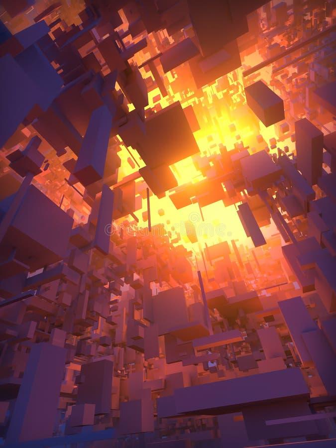 Abstrakt teknologibakgrund för tolkning 3d med volymetriskt ljus royaltyfri illustrationer