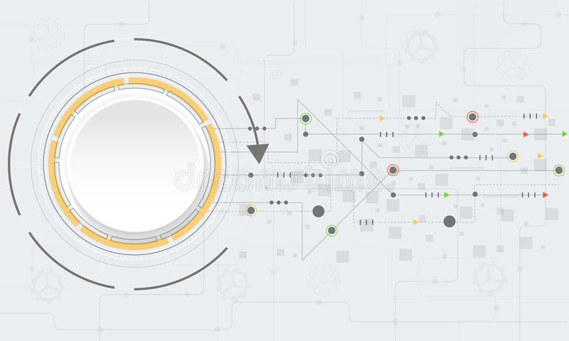 Abstrakt teknologibakgrund för vektor med olika teknologiska beståndsdelar royaltyfri illustrationer