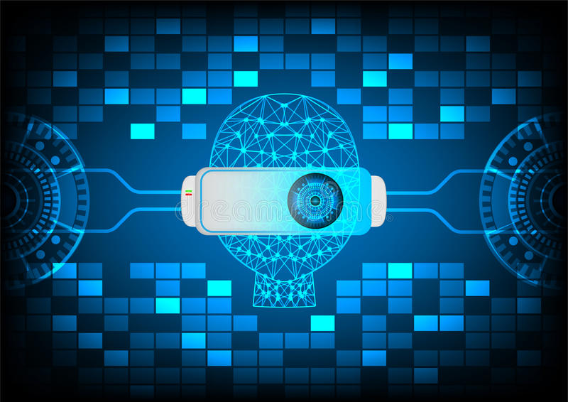 Abstrakt teknologibakgrund för virtuell verklighet VR vektor illustrationer