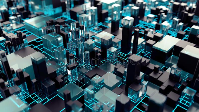 Abstrakt teknologibakgrund med blå neonbelysning arkivfoto