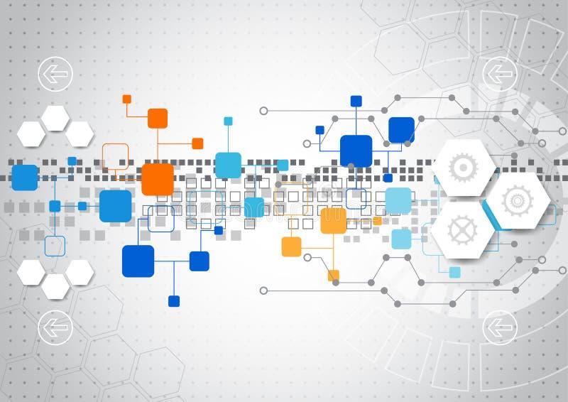 Abstrakt teknologibakgrund med olika teknologiska beståndsdelar stock illustrationer