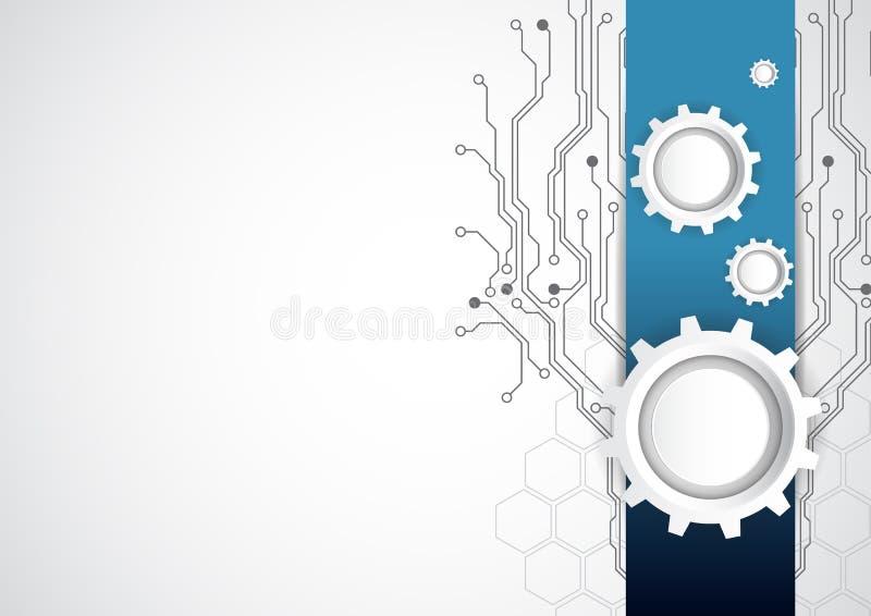 Abstrakt teknologibakgrund med olika teknologiska beståndsdelar, vektorillustration stock illustrationer
