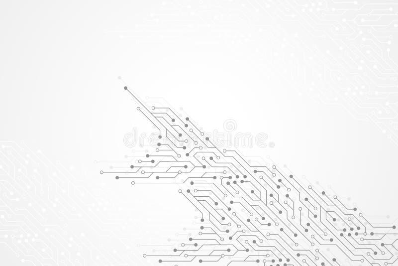 Abstrakt teknologibakgrund med textur för strömkretsbräde Elektroniskt moderkort för grafisk design Kommunikation och royaltyfri illustrationer