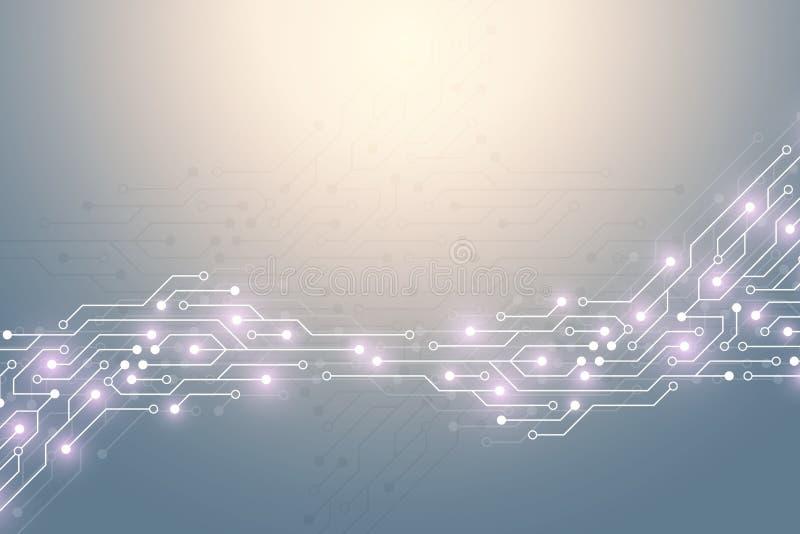 Abstrakt teknologibakgrund med textur för strömkretsbräde Elektroniskt moderkort för grafisk design Kommunikation och stock illustrationer