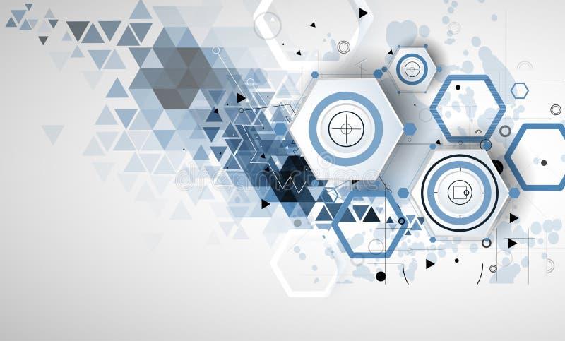 Abstrakt teknologibakgrundsaffär & utvecklingsriktning stock illustrationer