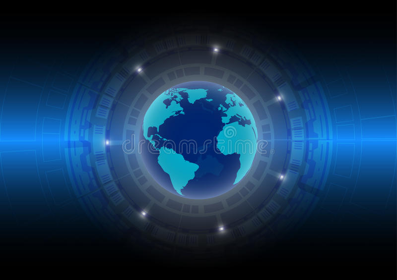 Abstrakt teknologibakgrundsvärld i den digitala åldern; framtida teknologibegrepp stock illustrationer