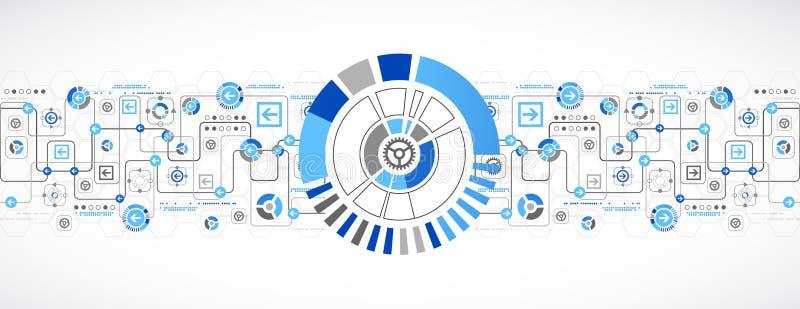 Abstrakt teknologibegrepp av affärsbakgrund stock illustrationer
