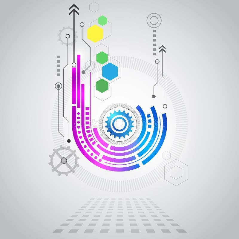 Abstrakt teknologisk bakgrund med olika teknologiska beståndsdelar stock illustrationer