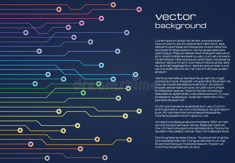 Abstrakt teknologisk blå bakgrund med färgrika beståndsdelar av mikrochipens Textur för bakgrund för strömkretsbräde stock illustrationer