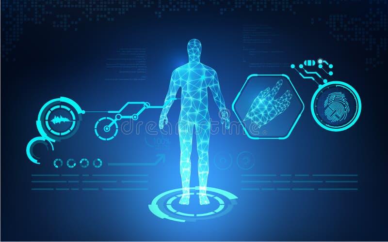 Abstrakt teknologisk hälsovård för AI; blått tryck för vetenskap; vetenskaplig manöverenhet; futuristisk bakgrund; digital ritnin vektor illustrationer