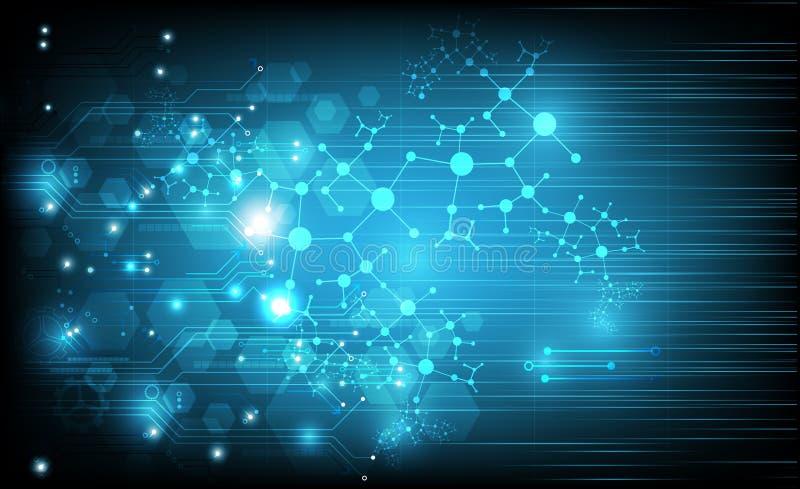Abstrakt teknologisk strömkrets med molekylbegrepp av neurons på blå bakgrund också vektor för coreldrawillustration royaltyfri illustrationer