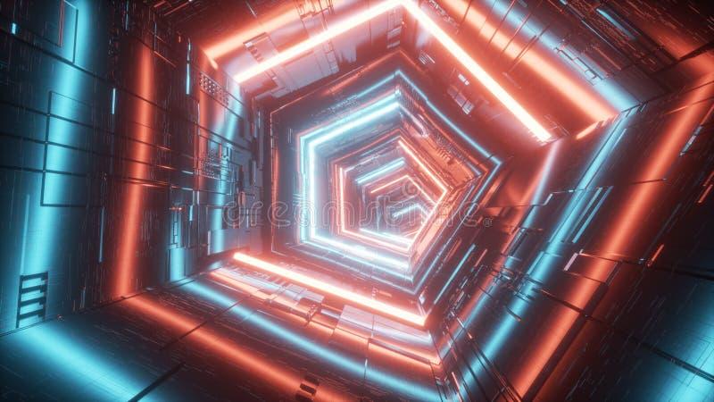 Abstrakt teknologisk tunnel med blått och rött ljus vektor illustrationer