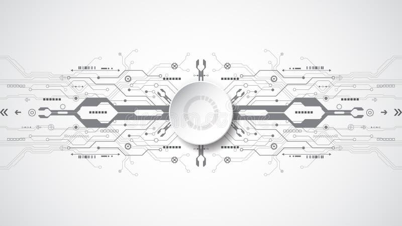 Abstrakt teknologiskt bakgrundsbegrepp med olika teknologibeståndsdelar royaltyfri illustrationer