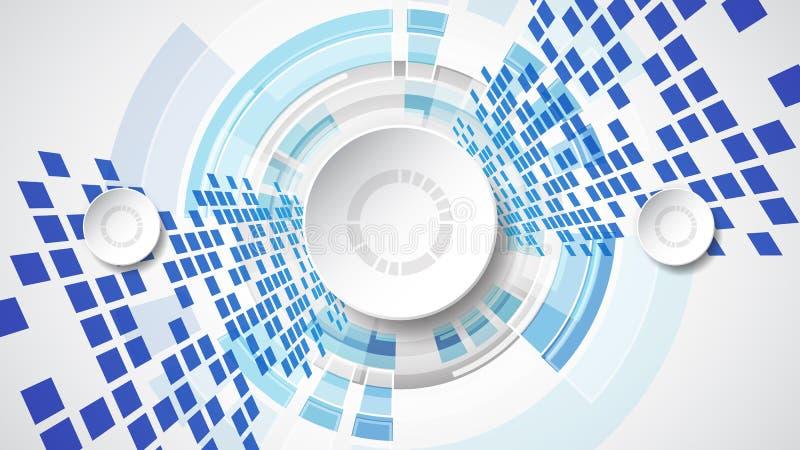 Abstrakt teknologiskt bakgrundsbegrepp med olika teknologibeståndsdelar stock illustrationer