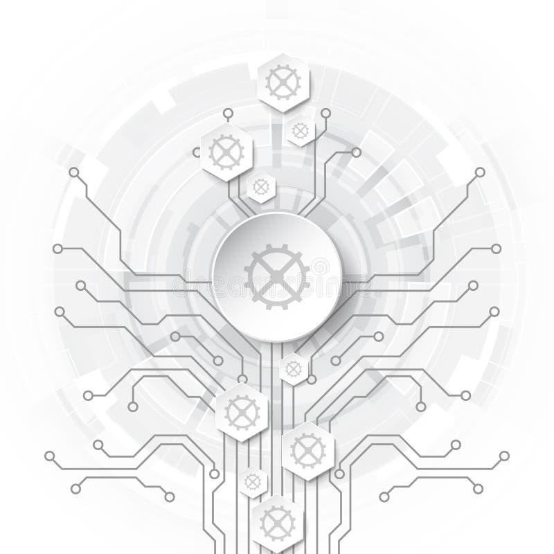 Abstrakt teknologiskt bakgrundsbegrepp med olika teknologibeståndsdelar illustrationvektor vektor illustrationer