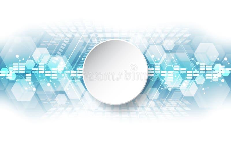 Abstrakt teknologiskt bakgrundsbegrepp med olika teknologibeståndsdelar illustrationvektor royaltyfri illustrationer