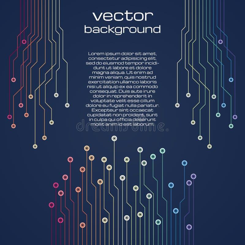 Abstrakt teknologiskt mörker - blå bakgrund med färgrika beståndsdelar av mikrochipens royaltyfri illustrationer