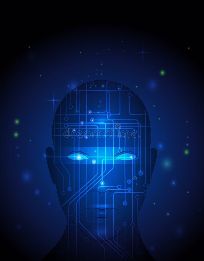Abstrakt teknologiströmkrets på mänsklig framsida vektor illustrationer
