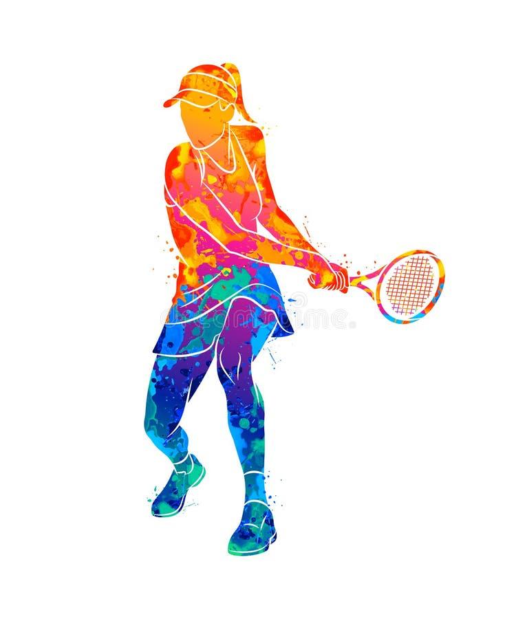 Abstrakt tennisspelare med en racket från färgstänk av vattenfärger royaltyfri illustrationer