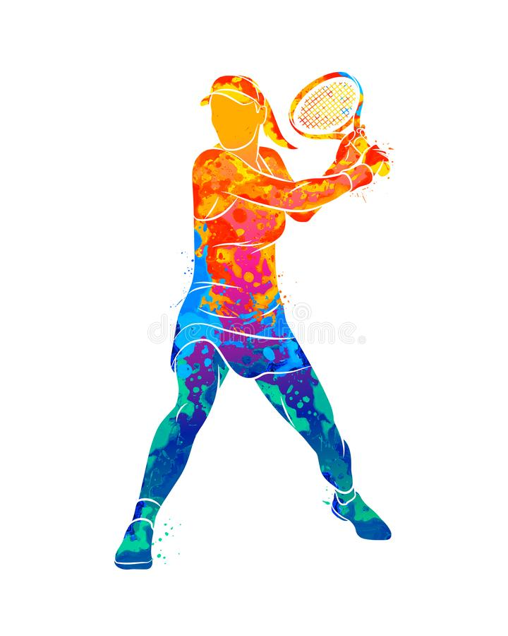 Abstrakt tennisspelare med en racket från färgstänk av vattenfärger stock illustrationer