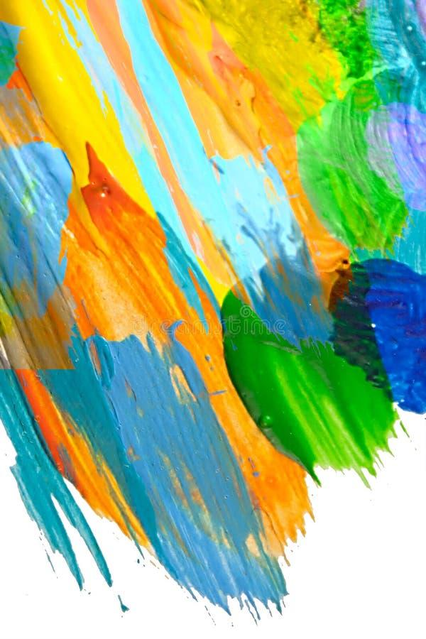 Abstrakt textur för fläck för akrylmålarfärg och vattenfärgfärgstänk Handen som drar färgrik akryl, plaskar isolerat på vit stock illustrationer