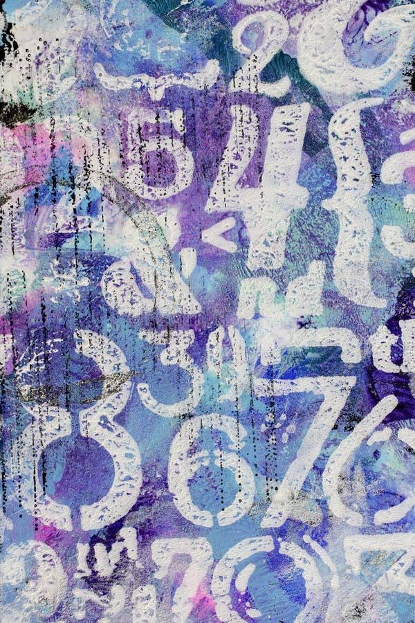 Abstrakt texturbakgrund med vita målade nummer stock illustrationer