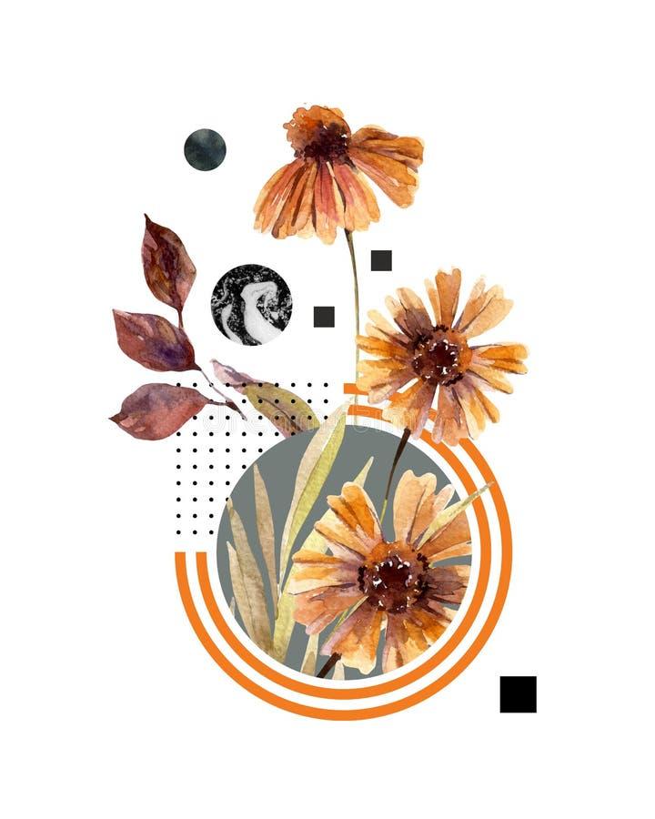 Abstrakt titelradbakgrund: vattenfärgnedgångblommor och sidor, minsta geometriskt stock illustrationer