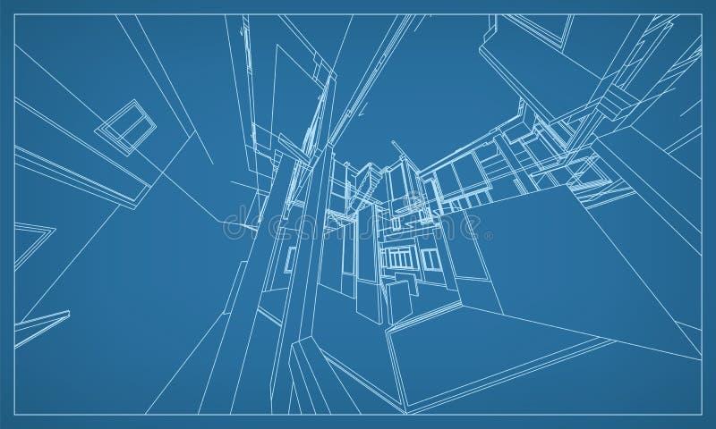 Abstrakt tolkning 3D av byggnadswireframestrukturen vektor stock illustrationer