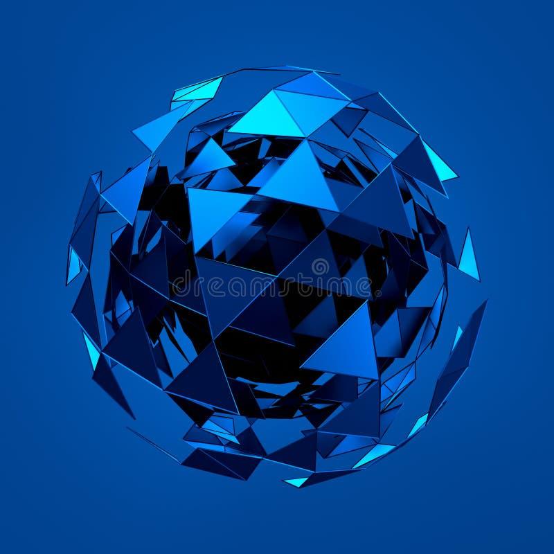 Abstrakt tolkning 3d av den låga poly blåa sfären med stock illustrationer