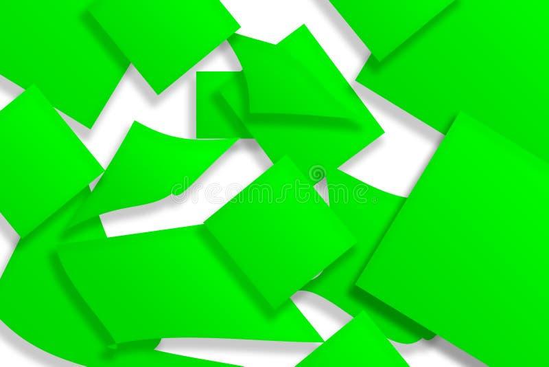 Abstrakt tolkning 3d av gröna yttersidaklistermärkear Bakgrund med en bruten form royaltyfri illustrationer