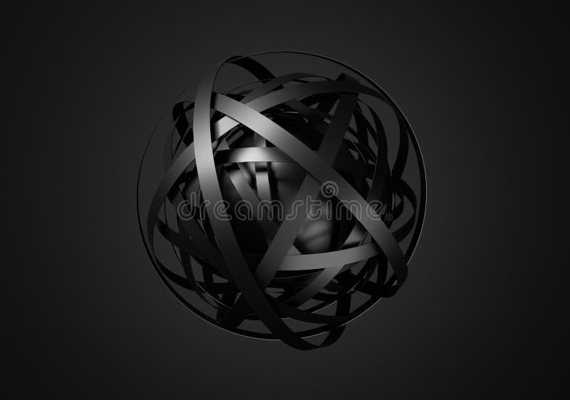 Abstrakt tolkning 3D av sfären med cirklar stock illustrationer