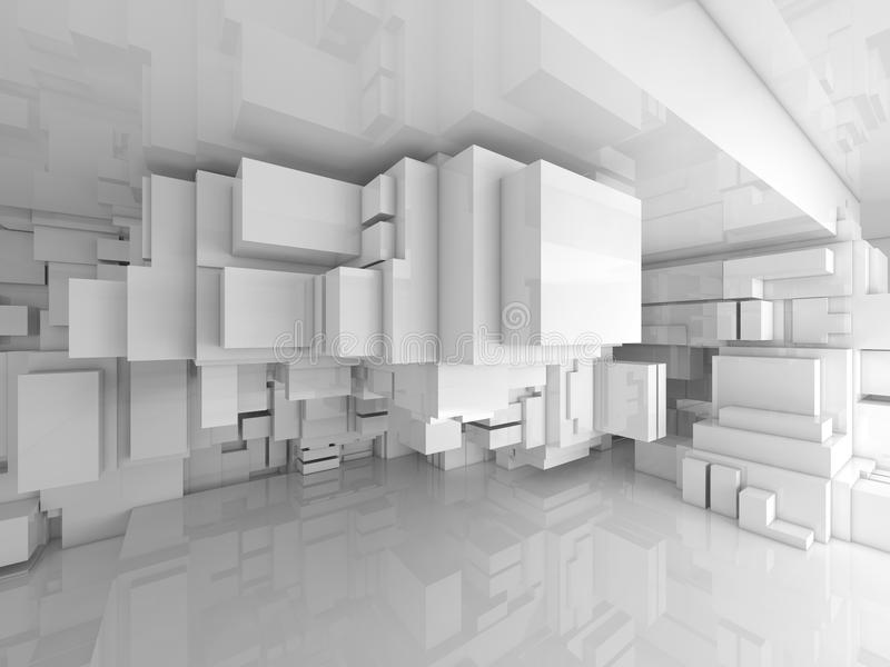 Abstrakt tom vit tekniskt avancerad inre för rum 3d royaltyfri illustrationer