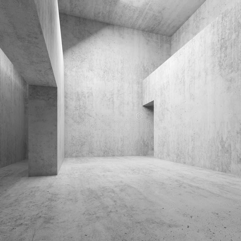 Abstrakt tomt rum för vitbetonginre 3 D vektor illustrationer