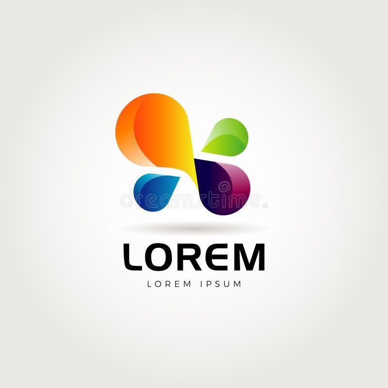 Abstrakt ton färgrika Logo Symbol stock illustrationer