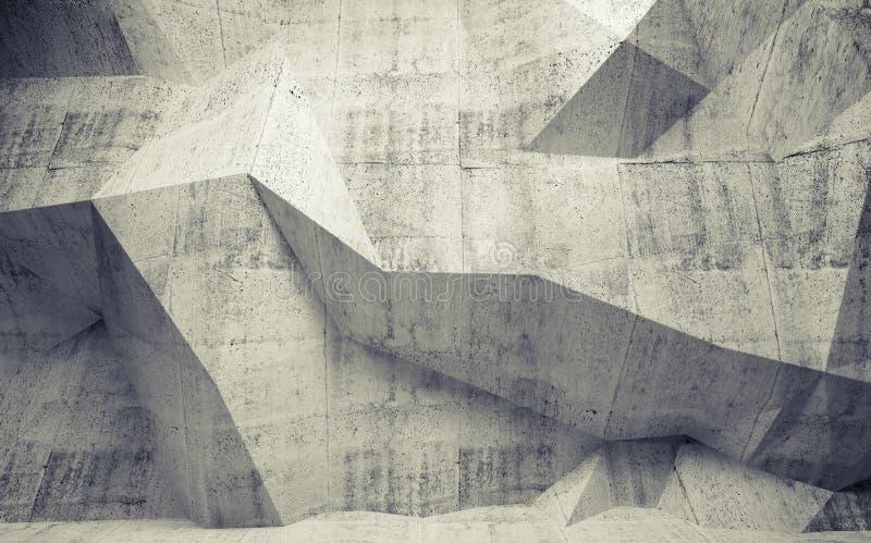 Abstrakt tonował betonowego wnętrze z poligonalnym wzorem na th ilustracja wektor